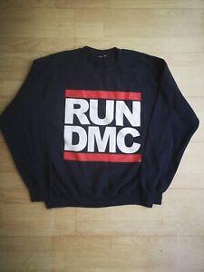 Vintage run dmc sweatshirt spellout jumper navy blue 90s print crew neck college