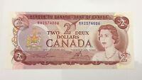 1974 Canada 2 Two Dollar RH Prefix Canadian Uncirculated Banknote E964