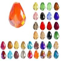 20Pcs Faceted Teardrop Crystal Loose Spacer Glass Beads Pendant DIY Craft Supply