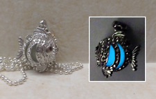 FISH GLOW in the DARK Aqua Crystal Filigree Prayer Wish Box Orb Cage Locket