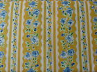Rambling Rose Yellow Background Blue Flowers Fabric 100% cotton