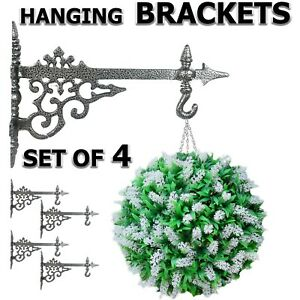 "Hanging Basket Bracket Lantern Planter Hanger 12"" Cast Aluminium Wall Fence Hook"