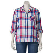 SO Women's Juniors Plus White Red Blue Plaid Roll-Tab Button Front Blouse  1X