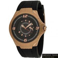 PUMA Uhr Slim Pedal II PU101681004 Herren Armbanduhr roségold schwarz