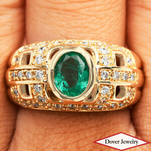 Estate Diamond 1.87ct Emerald 14K Gold Elegant Cluster Ring 10.4 Grams NR