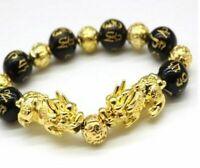 Natural Stone Feng Shui Black Obsidian Alloy Wealth Bracelet Original Quality
