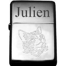 superbe briquet tempête essence gravé personnalisé chat tribal tatouage + prénom