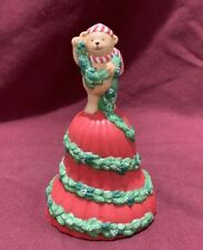 Vintage Avon 1991 Porcelain Christmas Bell Garland of Greetings Bear Nib