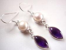 Genuine Pearl and Amethyst Marquise Earrings Dangle 925 Sterling Silver Drop