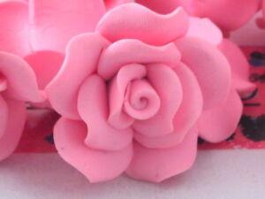 2 centrali rose rosa in gomma acrilica dura  40x15 mm