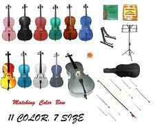 NEW CELLO,COLOR BOW,Carrying Soft Bag+2 Stands+Tuner+Rosin+Strings