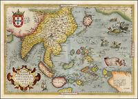 Ortelius Japan Asia India Malaysia Indonesia Reproduction Antique Old Color Map