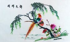"""100% Silk Hand Embroidery Chinese Art Colorful Birds Scene - 17"""" x 26"""" New"""