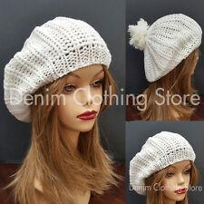 Women's Winter Fall Spring Braided Beret Baggy Knit Crochet Beanie Hat Ski Cap