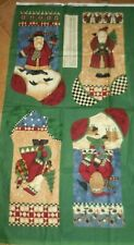 Debbie Mumm Santa Christmas Fabric Panels Set of 4 Stockings