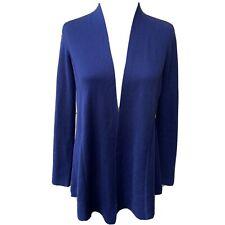Eileen Fisher Blue Silk Cotton Open Cardigan Sweater Women Casual Long Sleeve XS