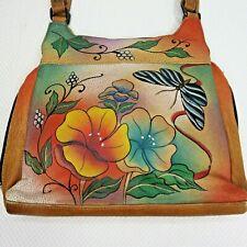 Anuschka Shoulder Bag Handbag Purse Hand Painted Butterflies Flowers
