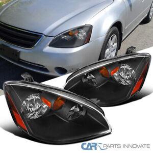 For 02-04 Nissan Altima 4Dr SL S SE Black Headlights Signal Lamps Left+Right L+R