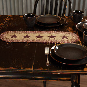 """VHC Brands Primitive 24""""x8"""" Stars Table Runner Red Stenciled Kitchen Table Decor"""