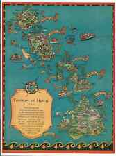 Hawaiiana Vintage Ruth Taylor White 1934 Tourist Map of the Territory of Hawaii.