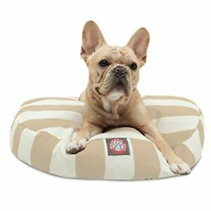 Majestic Pet Vertical Stripe Sand Small Round Pet Bed