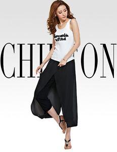 NEW HOT Women Chiffon Casual Splip Loose Casual Bloomers Pantalette Trouser Pant
