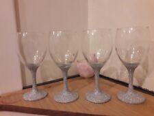 Set of 4 silver Glittered Wine Glasses