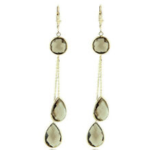 14K Yellow Gold Dangle Gemstone Earrings With Smoky Topaz