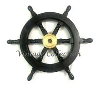 "18"" Black Wooden Ship Steering Wheel ~ Pirate Nautical Wall Decor Boat Wheel"