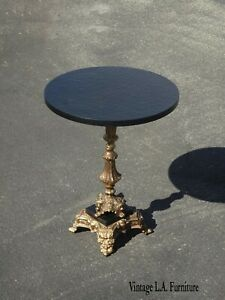French Provincial Black Gold Ornate Base Side Table ~ Key Table