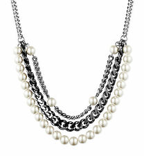 Givenchy Glass Pearl Three-Row Tier Hematite-Tone Chain Frontal Necklace NEW