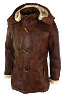 Mens Real Leather Hood Duffle Safari Fur Long 3/4 Brown Tan Jacket