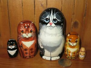 SLIGHT SECONDS Black Tabby Ginger Cat Chat Kitten Russian small STACKING Doll 5