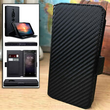 Shockproof Carbon Fiber Black Wallet Book Case Sony Xperia XZ2 PREMIUM