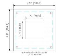 1/4 to 1/16 Din Panel Meter Adapter Plate Steel Dark Gray Gasketed