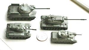 4 Vintage Metal Comet Authenticast WWII era Russian & US Tanks lot2 near HO