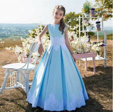 New Blue Satin Princess Flower Girls Dresses For Weddings Kids First Communion