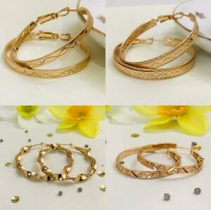 """9K 9ct """"Gold Filled"""" Prom 25 - 50mm Middle Hoop Earrings Birthday Xmas Gift"""