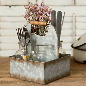 Galvanized Metal Caddy Storage Box Bin 4 Compartments + 4 Glass Jars Wood Handle