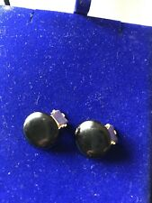 Vintage round button Black Ceramic/Glass/ Plastic? clip on Earrings