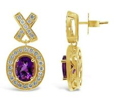 Le Vian crema caramelizadas ® pendientes-Uva Amatista ™ desnuda Diamantes - 14K Miel Oro ™