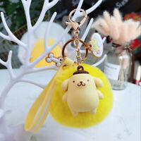Cute 3D Pompompurin Keychain Key Chain Pom Pom Fur Ball Keyring Charm Nice Gift