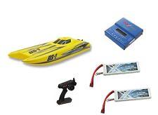 RC Rennboot Speedboot US V2 gelb Brushless 60km/h 73cm + 2x Lipo + Ladegerät NEU