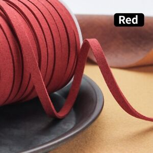 25yds 5mm Faux Leather Suede Cord Lace Flat Strap Thread Bead String DIY Sewing