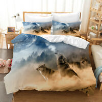 3D Snowfield Wolf Quilt Cover Set Bedding Duvet Cover Double/Queen/King 3pcs 42