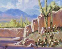 TOM HAAS (b1952) 'Javalina Wash' oil 11x14 Arizona desert saguaro cactus realism