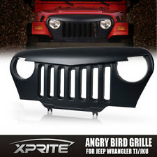 Front Matte Black Mean Angry Bird Grille Grill for 97-06 Jeep Wrangler TJ