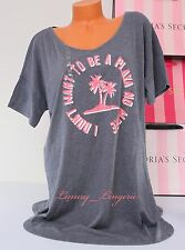NWT Victoria's Secret VS Pink Palms Print Sleep Pajama T-Shirt Sleepshirt L Gray
