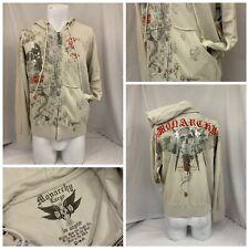 Monarchy Hoodie Sweatshirt L Tan Full Zip 100% Cotton NWT YGI R9-383CG