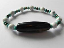 Mens stretch gemstone bracelet with magnesite, tourmaline and black agate
